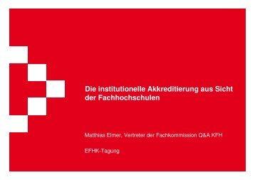 Die institutionelle Akkreditierung aus Sicht der ... - KFH