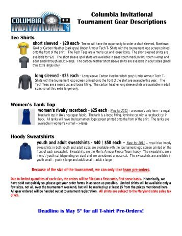 34th Annual Columbia Invitational T Shirt Order Form Elite Soccer