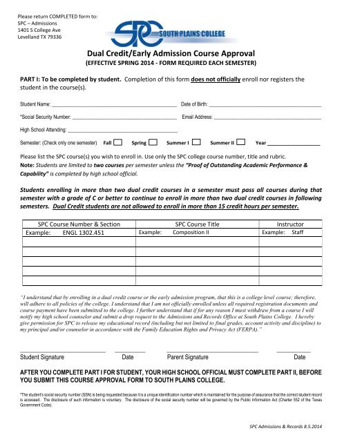 Dual Credit and Early Admission Application - South Plains