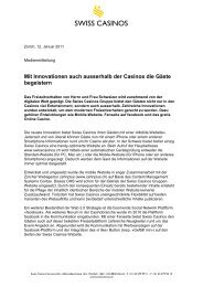 Muster Text für Medienmitteilung - Swiss Casinos