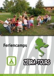 Feriencamps 2013 - Katalog - Zebra-Tours