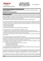 Avis de publication directeur CDDP NFC - Rectorat de l'académie ...