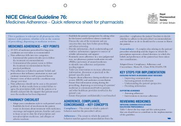 Medicines adherence, quick reference sheet for pharmacists