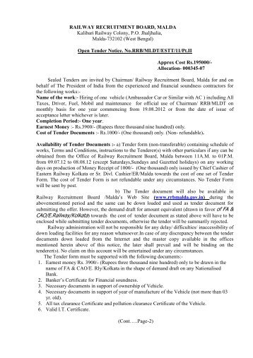 tender notification for hiring of one vehicle - Railway Recruitment ...