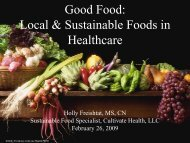 Good Food: Local & Sustainable Foods in Healthcare - Oregon Tilth