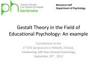 Gestalt Theory in the Field of Educational Psychology