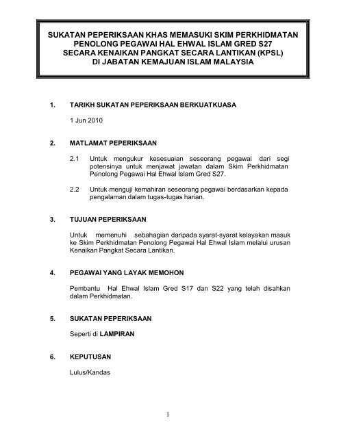 Sukatan KPSL S27 - Jabatan Kemajuan Islam Malaysia
