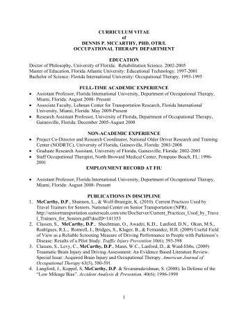 1 CURRICULUM VITAE of DENNIS P. MCCARTHY, PHD ... - CNHS