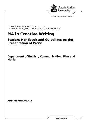 MA in Creative Writing - My.Anglia Homepage - Anglia Ruskin ...