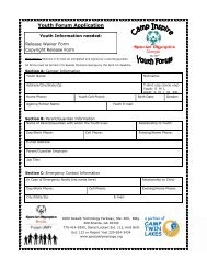 Youth Forum Application - Special Olympics Georgia