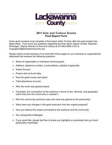 2013 Arts And Culture Community Project Grant Final Report Form