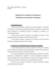 Regulament de organizare şi funcţionare - Universitatea