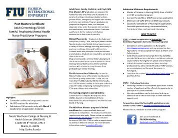 Post-Master's Certificate in Advanced Adult Health Nursing - CNHS