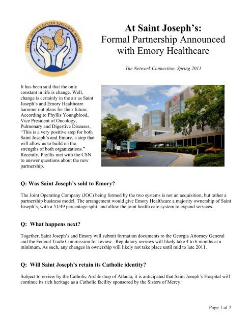 Formal Partnership Announced With Emory Healthcare