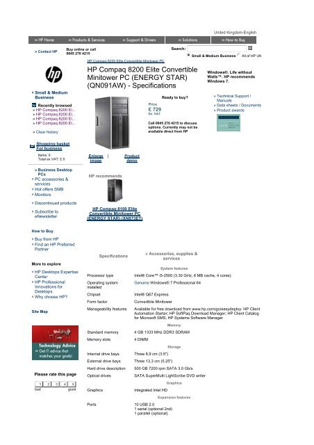 HP Compaq 8200 Elite Convertible Minitower PC - Added Dimension