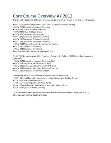 Syllabus - Academic Year 2011-12 - Department of Chemistry