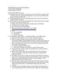 Broadband Working Group Meeting Minutes