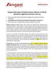 Media Release Sangam India plans strategic ... - Sangam Group