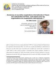 Anciennes et nouvelles coopérations internationale à l'heure ... - UQO
