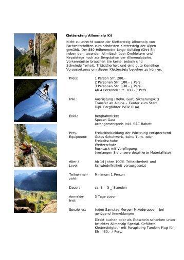 Klettersteig Allmenalp K4 Nicht zu unrecht wurde der Klettersteig ...