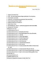 Mitglieder im Trierer Bündnis für Alphabetisierung und Grundbildung