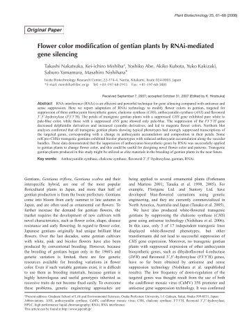 Plant Biotechnol. 25(1): 61-68 (2008) - Wdc-jp.biz