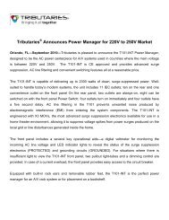 Tributaries Announces Power Manager for 220V ... - Tributaries Cable
