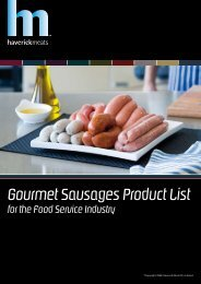 Gourmet Sausages Product List for the Food ... - Haverick Meats