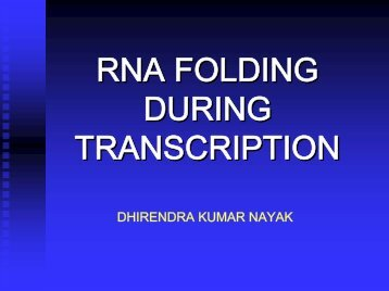 RNA FOLDING DURING TRANSCRIPTION