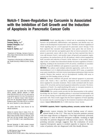 Notch-1 down-regulation by curcumin is associated with the ...