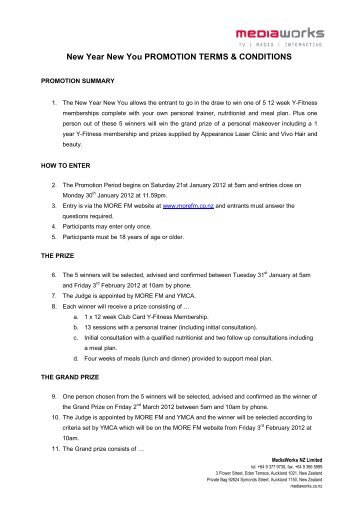 New Year New You PROMOTION TERMS & CONDITIONS - More FM