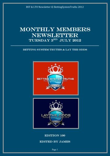 MONTHLY MEMBERS NEWSLETTER - Betting System Truths
