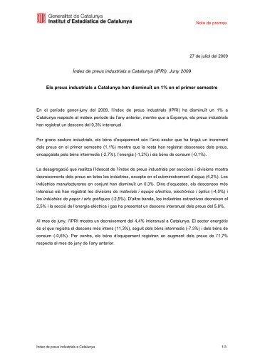 Idescat. Nota de premsa. Índex de preus industrials a Catalunya ...