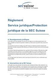 Reglement service juridique SEC Suisse (PDF, 332 kb)
