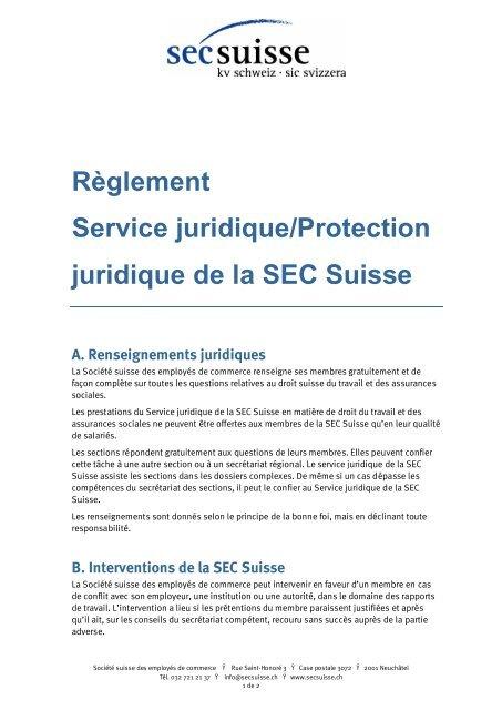 17cbf8b99cb Reglement service juridique SEC Suisse (PDF