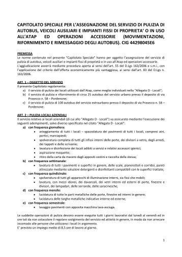 CAPITOLATO SPECIALE PER L'ASSEGNAZIONE DEL ... - Atap
