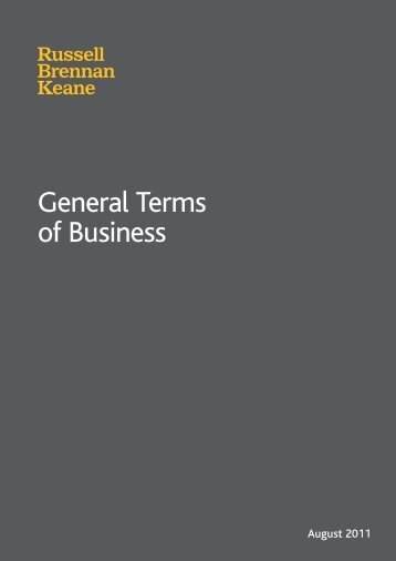 General Terms of Business - RBK Technology