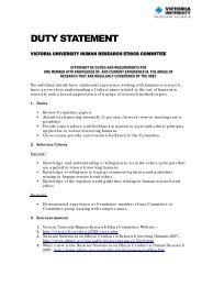 DUTY STATEMENT - Office for Research - Victoria University