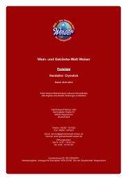 Preisliste für Hersteller: Clynelish - und Getränke-Welt Weiser