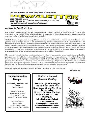 May 2004 (PDF) - Saskatchewan Teachers' Federation