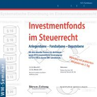 Investmentfonds im Steuerrecht - WM Seminare