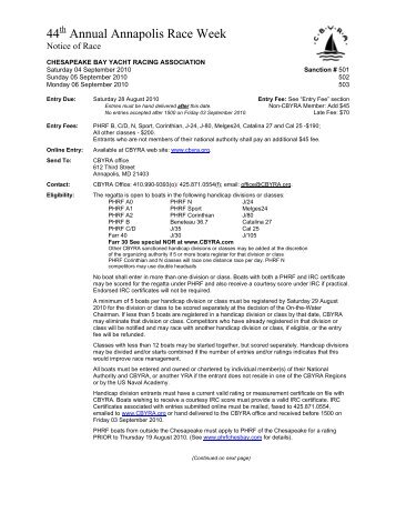 Notice of Race - Chesapeake Bay Yacht Racing Association