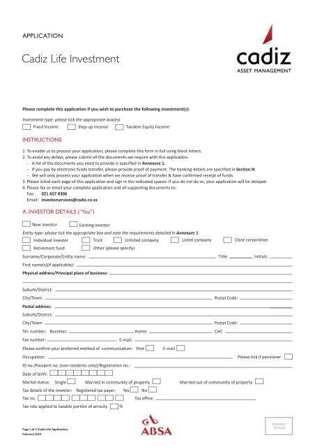 Cadiz Absa Life Investment Application Form March Cadiz Co Za