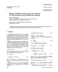 Singular manifold equations and exact solutions for some nonlinear ...