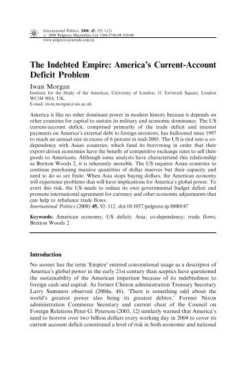 are current account deficits sustainable Sustainability of the malawian current account deficit: application of structural  and solvency approaches onelie nkuna reserve bank of malawi, convention.