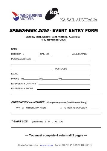 Entry form Sample - Australian Windsurfing