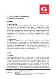 G+ by GOLFINO KOLLEKTIONSBERICHT AUTUMN/WINTER 2010 ...