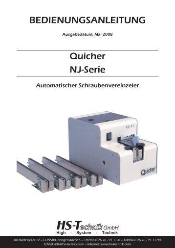 Quicher NJ-Serie BEDIENUNGSANLEITUNG - HS-Technik