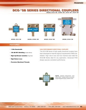 DCG-*SB SERIES DIRECTIONAL COUPLERS - Holland Electronics