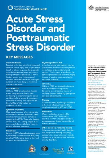 Acute Stress Disorder and Posttraumatic Stress Disorder - Australian ...
